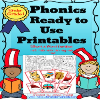 Phonics CVC Ready to Use Printables:Short a & e Word Families