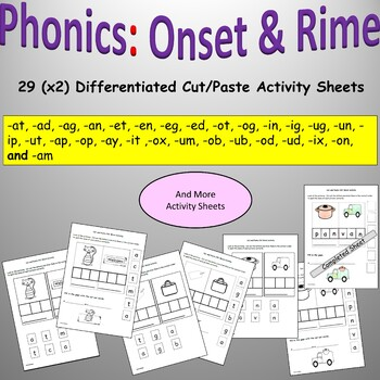 Phonics: CVC/Onset and Rime, Cut and Paste Activities