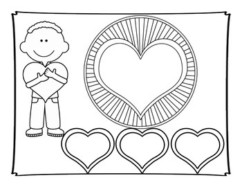 Phonics: CVC Segmenting Valentine Heart Throbs in Black and White