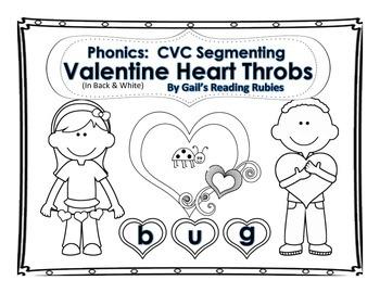 Phonics: CVC Segmenting Valentine Heart Throbs in Black and White