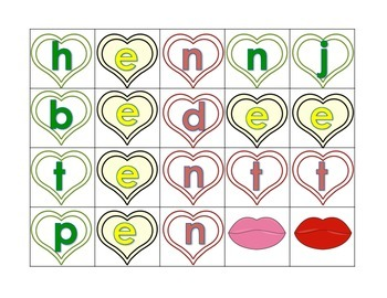 Phonics: CVC Segmenting Valentine Heart Throbs in color
