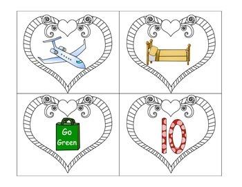Phonics: CVC Segmenting Valentine Heart Throbs in color