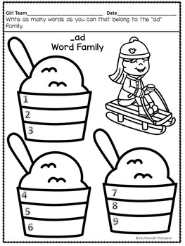 Relay Sled Race (CVC Word Families Worksheets)