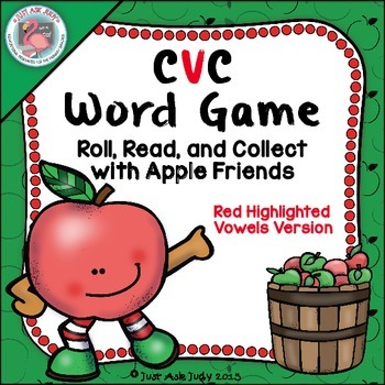 Phonics Game Short Vowel CVC Words Apple Friends Highlighted Vowels