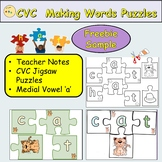 CVC Word Puzzles Medial Vowel 'a' Activities