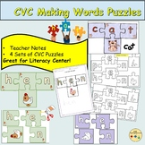 CVC and Word Families Word Puzzles Cut/Stick Activities Te