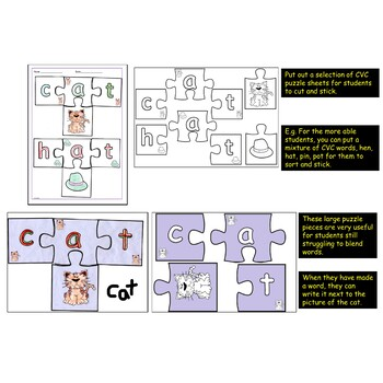 CVC Words and Word Families Word Puzzles Cut/Stick Activities Teacher's Notes