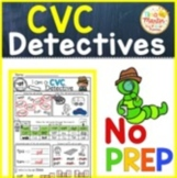 Phonics: CVC no prep worksheets (detective theme)