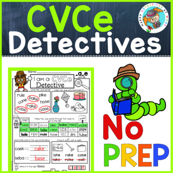 Phonics: CVCe no prep worksheets (detective theme)