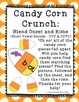 October Literacy Center Puzzle : Blend Onset Rime