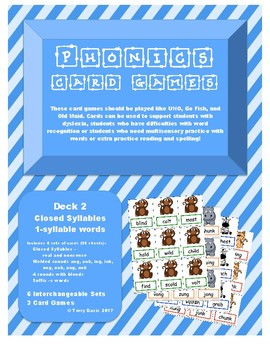 Phonics Card Games - Closed Syllables (Deck 2)