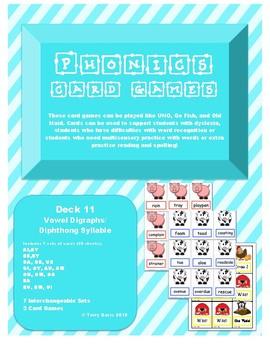 Phonics Card Games - Vowel Digraphs/Diphthongs (Deck 11)