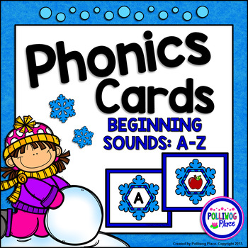 Phonics Cards Beginning Sounds A-Z Winter Snowflakes