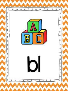 Phonics Cards~ Chevron Theme (Full Size Cards)