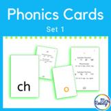 Phonics Cards Set 1   Consonants, Digraphs, Short Vowels  