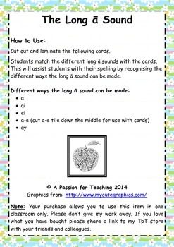 Literacy Centre: The Long A Sound Phonics Cards