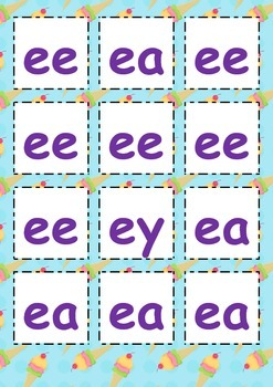 Literacy Centre: The Long E Sound Phonics Cards