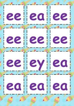 Long E Sound Phonics Cards