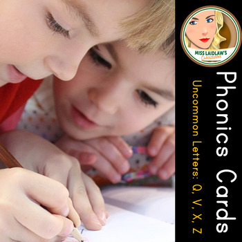 Phonics Cards - Uncommon Letters (Q, V, X, and Z) - Word Work Center