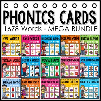 Phonics Centers Pocket Charts - Picture Cards (1480 Words)