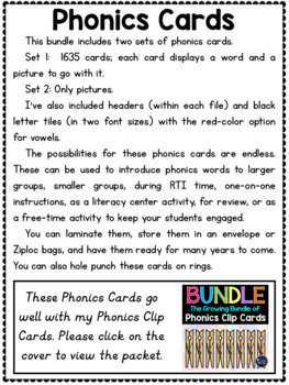 Phonics Centers Pocket Chart Activities - 1545 Words for Phonics Charts