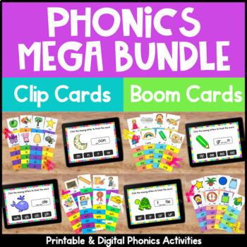 Phonics Center Activities: Phonics Clip Cards Bundle for Phonics Practice