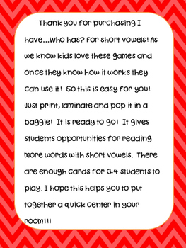 Phonics Center: I have...Who has...? for Short Vowels (CVC words)