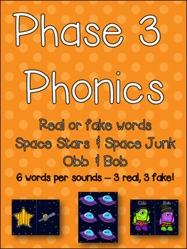 Phonics Center - Real or Fake words? Spaceships and Obb & Bob! Laminate & go!