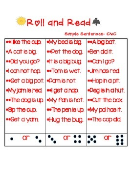 Phonics Center  Roll and Read