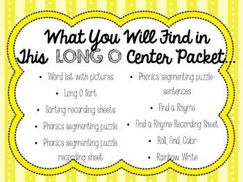 Long O Word Work:  Phonics Centers