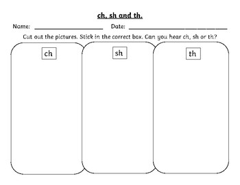 Phonics - Ch Sh Th - Cut and Paste activity.
