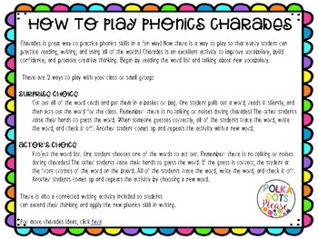 Digraph Charades Activity and Printables