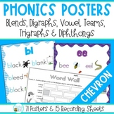 Phonics Posters for Blends, Digraphs, Trigraphs and Diphthongs (Chevron)