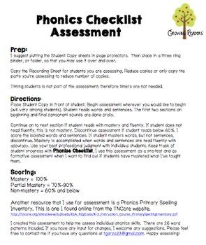 Phonics Checklist Assessment Pack
