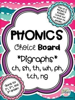 Phonics Choice Board: Digraphs