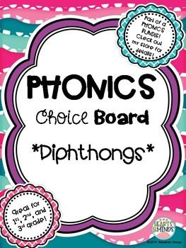 Phonics Choice Board: Diphthongs