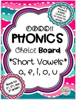 Phonics Choice Board: Short Vowels