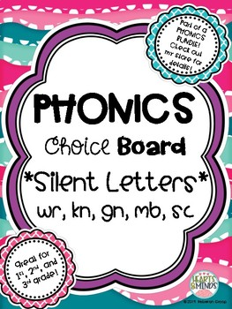 Phonics Choice Board: Silent Letters