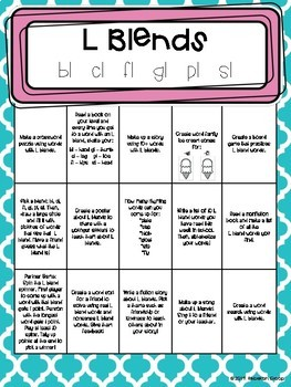 Phonics Choice Boards: Blends (R, L, S, 3-Letter)