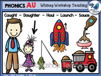 Phonics Clip Art: AU Words - Whimsy Workshop Teaching