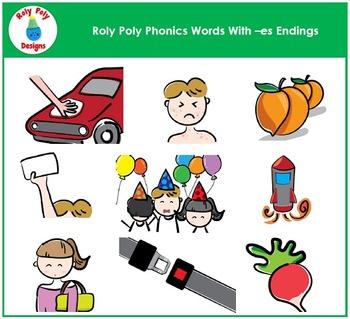 ES Word Endings Clip Art by Roly Poly Designs