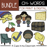 Phonics Clip Art: Beginning Digraph Clip Art CH- (Printing & web/digital BUNDLE)