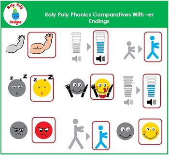Comparatives With er Endings Phonics Clip Art by Roly Poly