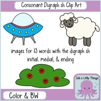 Phonics Clip Art: Consonant Digraph sh clipart