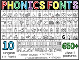 Phonics Clip Art Fonts BUNDLE (Personal or Commercial use)
