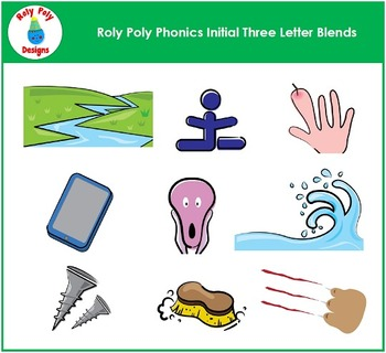 Initial Three Letter Blends #1 Phonics Clip Art by Roly Poly Designs