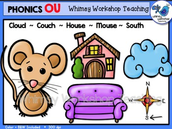 Phonics Clip Art: OU Words - Whimsy Workshop Teaching