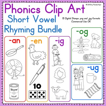 Phonics Clip Art:  Short Vowel Rhyming Mini Bundle {Word Families}