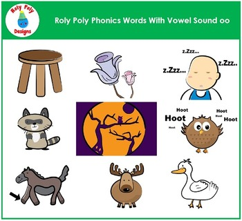Vowel Sound OO (moon) Phonics Clip Art by Roly Poly Designs