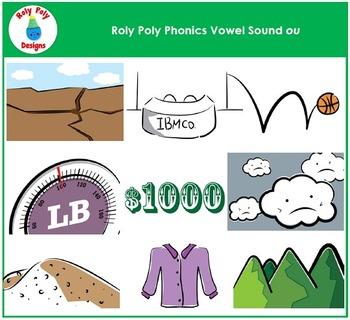 Vowel Sound OU Phonics Clip Art by Roly Poly Designs